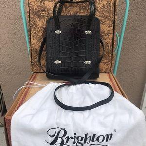 BRIGHTON Retired Black Croc Leather Handbag